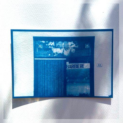 Cynaotype carte postale La barbière